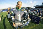 Joe Walters #1 of the Chesapeake Bayhawks lines up for the National Anthem before a Major League Lacrosse game against the Rochester Rattlers on July 17, 2014 at Navy-Marine Corps Memorial Stadium in Annapolis, Maryland. The Rattlers won 10-7.