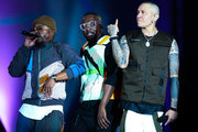 (L-R) Apl.de.Ap, Will.I.am and Taboo of Black Eyed Peas perform on stageduring Black Eyed Peas concert at Cidade do Rock on October 05, 2019 in Rio de Janeiro, Brazil.