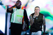 (L-R) Will.I.am and Taboo of Black Eyed Peas perform on stageduring Black Eyed Peas concert at Cidade do Rock on October 05, 2019 in Rio de Janeiro, Brazil.