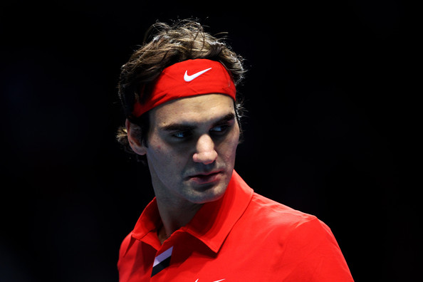 Roger Federer Roger Federer of Switzerland reacts to a play during his men's final match against Rafael Nadal of Spain during the ATP World Tour Finals at O2 Arena on November 28, 2010 in London, England.