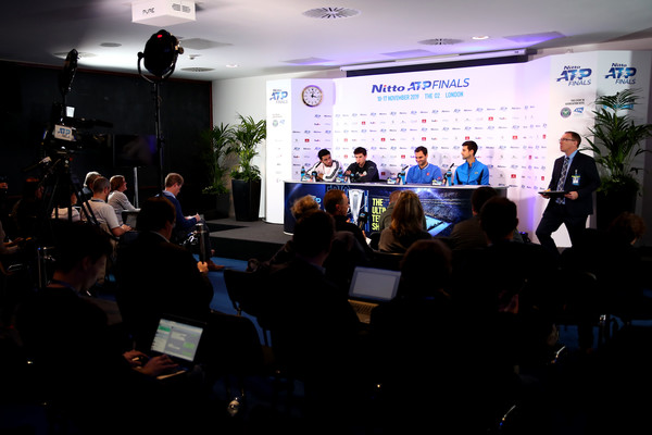 Nitto ATP World Tour Finals - Previews [previews,event,convention,academic conference,performance,stage,news conference,technology,crowd,audience,presentation,matteo berrettini,novak djokovic,nitto,media,l-r,italy,serbia,atp world tour finals,previews]