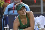 Eugenie Bouchard of Canada is in pain against Elise Mertens of Belgium during day two of the Rogers Cup at IGA Stadium on August 7, 2018 in Montreal, Quebec, Canada.