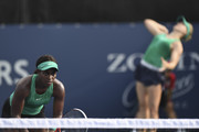 Sloane Stephens looks on while her doubles partner Eugenie Bouchard of Canada serves during their doubles match against Kirsten Flipkens of Belgium and Daria Gavrilova of Russia on day four of the Rogers Cup at IGA Stadium on August 9, 2018 in Montreal, Quebec, Canada.
