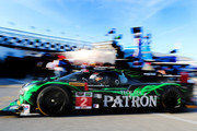 The #2 Tequilla Patron Honda HPD ARX driven by Ed Brown, Johannes van Overbeek and Jon Fogarty during practice for the Rolex 24 At Daytona at Daytona International Speedway on January 22, 2015 in Daytona Beach, Florida.