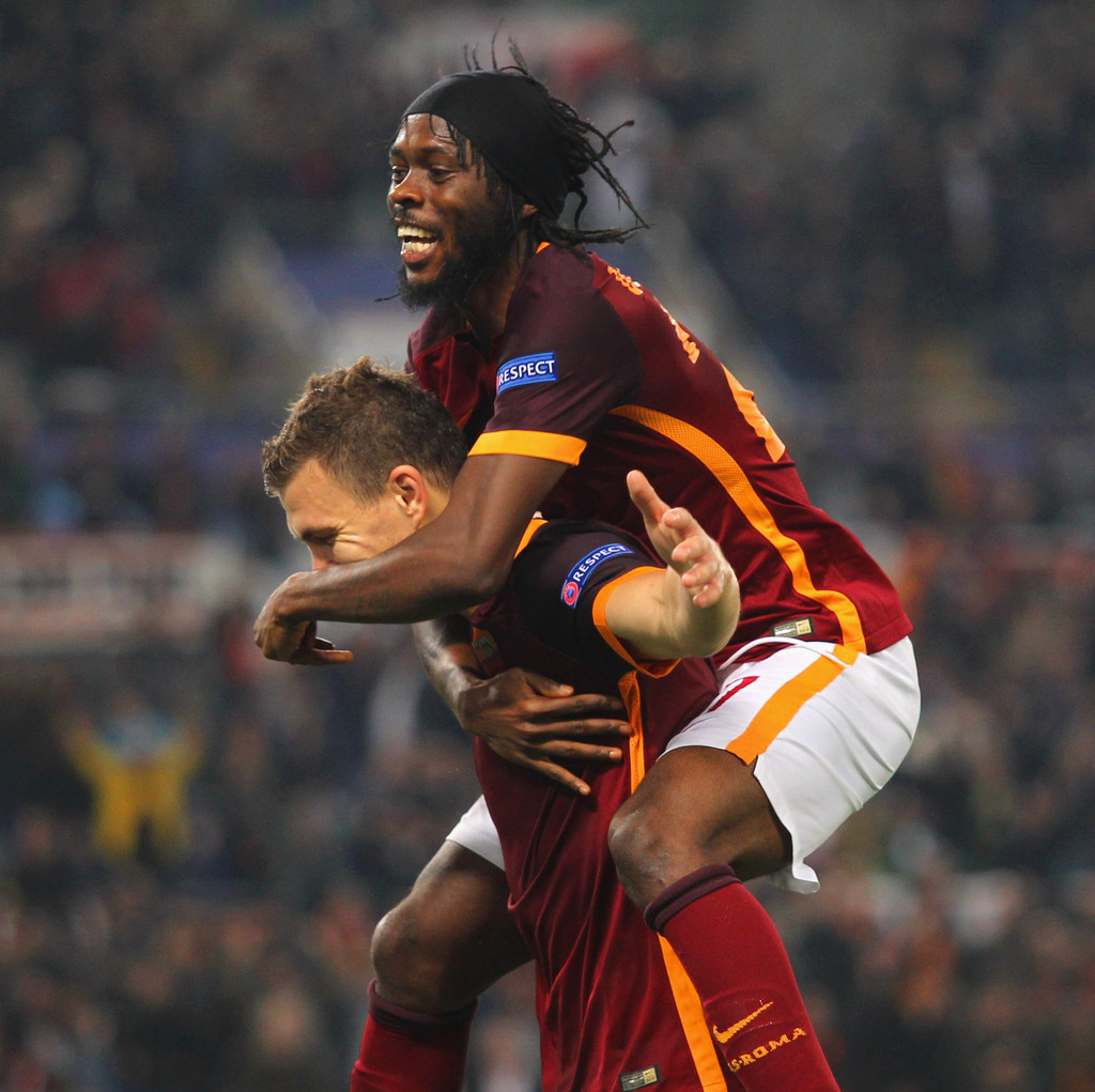 Edin Dzeko and Gervinho s s AS Roma v Bayer 04