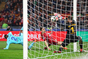 Marc-Andre ter Stegen of Barcelona saves a shot from Stephan El Shaarawy of AS Roma during the UEFA Champions League Quarter Final Second Leg match between AS Roma and FC Barcelona at Stadio Olimpico on April 10, 2018 in Rome, Italy.