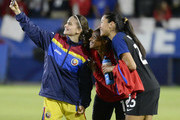 Raluca Sarghe #7 of Romania takes a selfie with Crystal Dunn #19 and Christen Press #23 of United States after their international friendly soccer match at StubHub Center on November 13, 2016 in Carson, California.