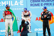 In this handout provided by FIA Formula E, Sam Bird (GBR), DS Virgin Racing, DS Virgin DSV-03, ,wins the Rome ePrix, with Lucas Di Grassi (BRA), Audi Sport ABT Schaeffler, Audi e-tron FE04, in 2nd and Andre Lotterer (BEL), TECHEETAH, Renault Z.E. 17, in 3rd. during the Rome ePrix, Round 7 of the 2017/18 FIA Formula E Series at Circuito Cittadino Dell'EUR on April 14, 2018 in Rome, Italy.