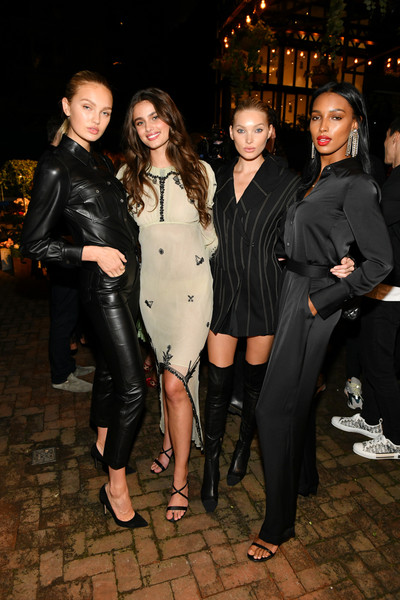 Lily Aldridge Parfums Launch Event [photo,fashion,event,little black dress,dress,leg,textile,suit,fashion design,formal wear,leather,lily aldridge,elsa hosk,jasmine tookes,l-r,romee strijd,bowery hotel,taylor hill,lily aldridge parfums launch event,launch event]