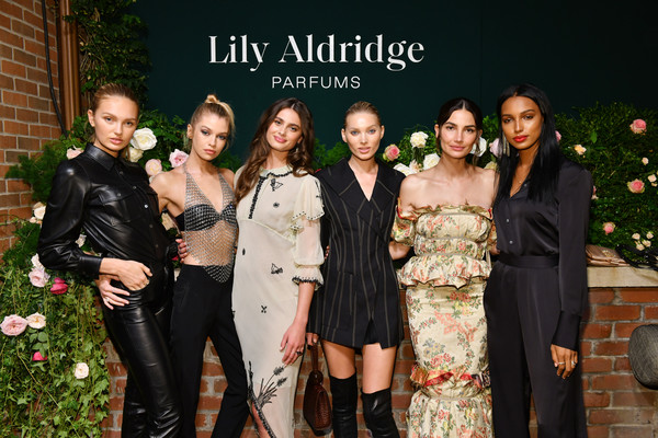 Lily Aldridge Parfums Launch Event [photo,event,fashion,lady,beauty,skin,formal wear,ceremony,dress,smile,photography,lily aldridge,stella maxwell,jasmine tookes,elsa hosk,l-r,romee strijd,bowery hotel,taylor hill,lily aldridge parfums launch event]