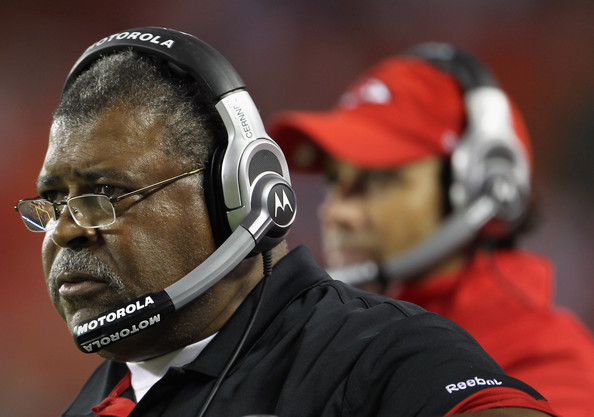 Romeo Crennel Defensive Coordinator Romeo Crennel of the Kansas City Chiefs looks on from the sidelines alongside head coach Todd Haley during the game against the Green Bay Packers on September 2, 2010 at Arrowhead Stadium in Kansas City, Missouri.