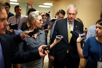 Ron Johnson Senators Return To Capitol Hill After 'Skinny Repeal' Of Obamacare Fails