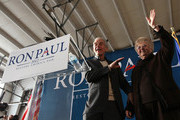 Republican presidential candidate, U.S. Rep. Ron Paul (R-TX) introduces his wife, Carol, before speaking during a Hangar Rally on January 6, 2012 at Jet Aviation in Nashua, New Hampshire. Paul, who finished third in Iowa's GOP caucus, arrived today to campaign ahead of New Hampshire's first in the nation primary election.