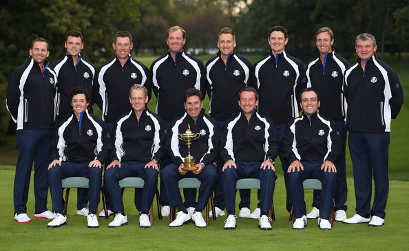 Ryder Cup - Preview Day 2 [team,team sport,sports,player,championship,uniform,recreation,crew,games,jose maria olazabal,martin kaymer,lee westwood,sergio garcia,paul lawrie,back row,l-r,front row,european team,ryder cup]