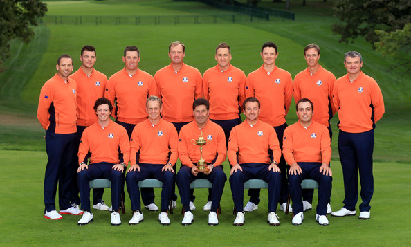 Ryder Cup - Preview Day 2 [team,team sport,player,sports,jose maria olazabal,martin kaymer,lee westwood,sergio garcia,paul lawrie,rory mcilroy,back row,l-r,european team,ryder cup]