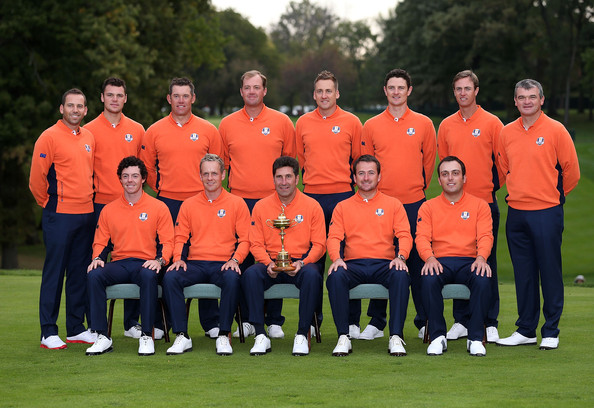 Ryder Cup - Preview Day 2 [team,team sport,player,sports,crew,championship,sports training,jose maria olazabal,martin kaymer,lee westwood,sergio garcia,paul lawrie,back row,l-r,front row,european team,ryder cup]