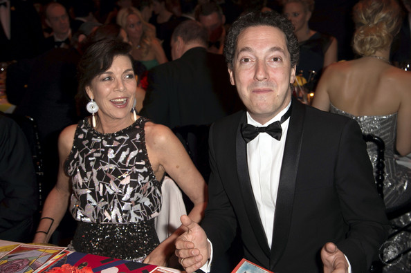 (VOICI, CLOSER, FRANCE DIMANCHE, ICI PARIS, ENTREVUE & PUBLIC OUT FOR FRANCE) (TABLOID OUT) Princess Caroline of Hanover and  Guillaume Gallienne attend the Rose Ball 2014 in aid of the Princess Grace Foundation at Sporting Monte-Carlo on March 29, 2014 in Monte-Carlo, Monaco.