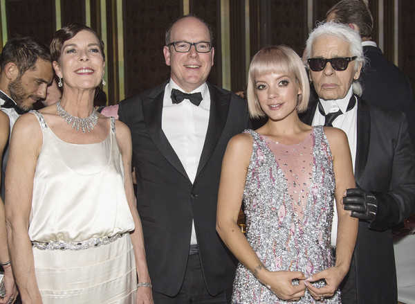 (L-R) Princess Caroline of Hanover, Prince Albert II of Monaco, Lily Allen and Karl Lagerfeld attend the Rose Ball 2015 in aid of the Princess Grace Foundation at Sporting Monte-Carlo on March 28, 2015 in Monte-Carlo, Monaco.