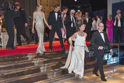 (TABLOIDS OUT)  (L-R) Beatrice Borromeo, Pierre Casiraghi, Charlotte Casiraghi, Karl Lagerfeld, Paola Marzotto, Princess Caroline of Hanover and Prince Albert II of Monaco attend the Rose Ball 2015 in aid of the Princess Grace Foundation at Sporting Monte-Carlo on March 28, 2015 in Monte-Carlo, Monaco.