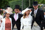 (L-R) Laura Johnson, Glen Johnson, Abbey Clancy and Peter Crouch on day three, Ladies Day, of Royal Ascot at Ascot Racecourse on June 20, 2019 in Ascot, England.