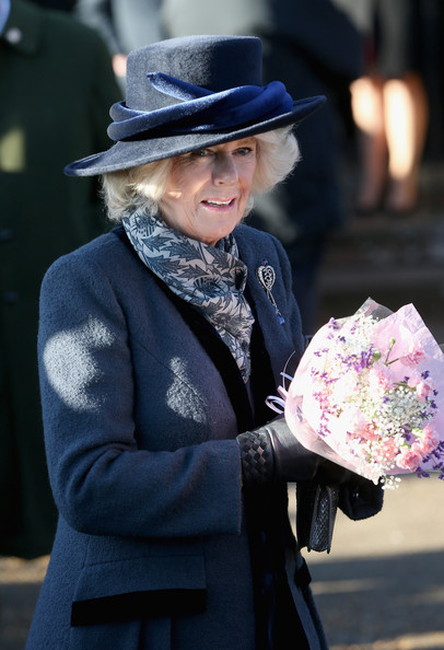 Camilla, Duchess of Cornwall leaves the Christmas Day service at Sandringham on December 25, 2013 in King's Lynn, England.