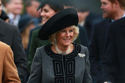 Camilla, Duchess of Cornwall attends a Christmas Day church service at Sandringham on December 25, 2015 in King's Lynn, England.