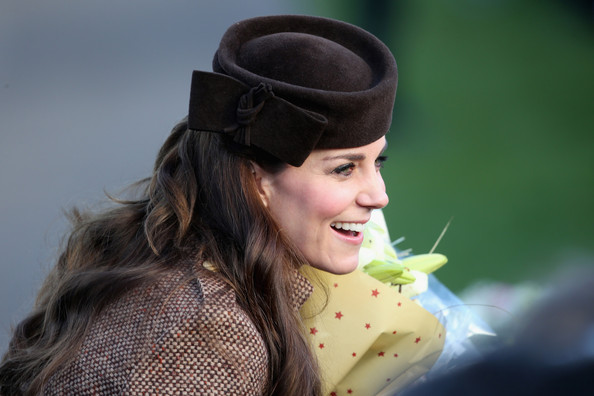 Catherine, Duchess of Cambridge leaves the Christmas Day Service at Sandringham Church on December 25, 2014 in King's Lynn, England.