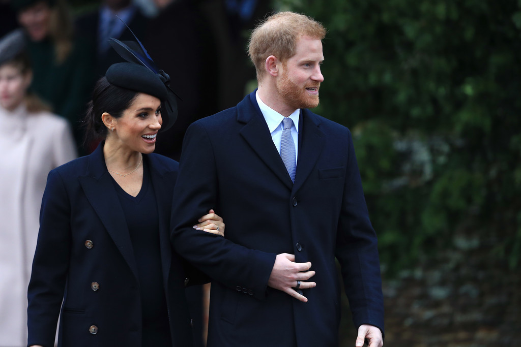 Meghan Markle, shown here with Prince Harry on Christmas day, is expecting her first baby in April.