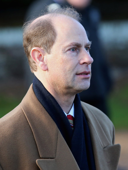 Prince Edward, Earl of Wessex leaves the Christmas Day Service at Sandringham Church on December 25, 2014 in King's Lynn, England.