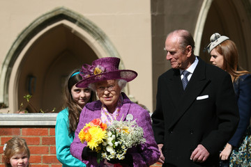 Queen Elizabeth II Princess Beatrice Royal Family Attend Easter Sunday Service At Windsor Castle
