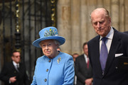 Queen Elizabeth II and Prince Philip, Duke of Edinburgh arrive at the annual Commonwealth Day service on Commonwealth Day on March 14, 2016 in Westminster Abbey, London. The service is the largest annual inter-faith gathering in the UK.