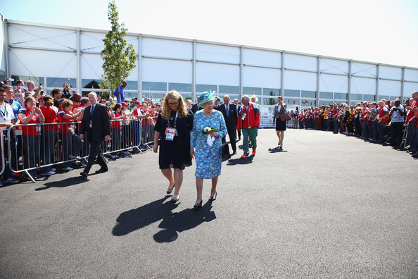 Queen Elizabeth II visits the Athletes Village during the Commonwealth games on July 24, 2014 in Glasgow, Scotland.