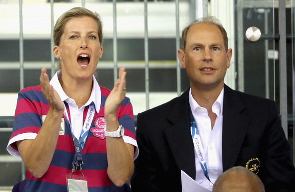 Sophie, Countess of Wessex and Prince Edward, Earl of Wessex cheers on the English cyclists at the Chris Hoy Velodrome in the Emirates Arena during the Commonwealth games on July 24, 2014 in Glasgow, Scotland.