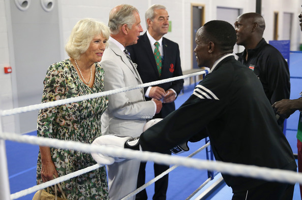 Prince Charles, Prince of Wales and Camilla, Duchess of Cornwall meet Commonwealth Boxers as they train during a visit to the Emirates Arena and Chris Hoy Velodrome ahead of the start of the Commonwealth games on July 23, 2014 in Glasgow, Scotland.
