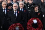 (R-L) Prime Minister Theresa May, John Major, Labour leader Jeremy Corbyn and Tony Blair attend the annual Remembrance Sunday memorial at the Cenotaph on Whitehall on November 12, 2017 in London, England.  The Royal Family, senior politicians, including the British Prime Minister and representatives from the armed forces pay tribute to those who have suffered or died at war.
