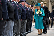 Queen Elizabeth II and Prince Philip, Duke of Edinburgh meet former servicemen following the Royal Maundy service at Leicester Cathedral on April 13, 2017 in Leicester, England. The Queen & Duke of Edinburgh travelled by car from Leicester station along Humberstone Gate, High Street and Jubilee Square.