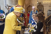 Queen Elizabeth II attends the traditional Royal Maundy Service at St George's Chapel on April 18, 2019 in Windsor, England.