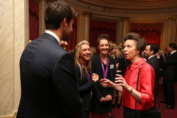 Princess Anne, Princess Royal meets cyclists Laura Trott and Danielle King during a reception for the Team GB Olympic and Paralympic medalists at Buckingham Palace on October 23, 2012 in London, England.
