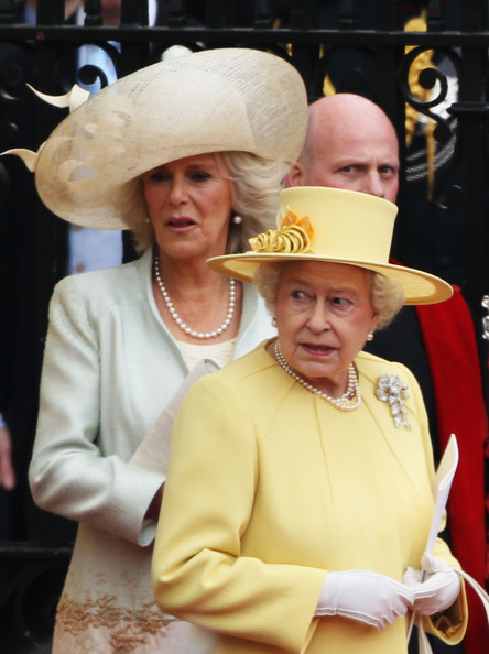 Camilla, Duchess of Cornwall and Queen Elizabeth II (R) depart for a procession to Buckingham Palace following the marriage of Their Royal Highnesses Prince William Duke of Cambridge and Catherine Duchess of Cambridge at Westminster Abbey on April 29, 2011 in London, England. The marriage of the second in line to the British throne was led by the Archbishop of Canterbury and was attended by 1900 guests, including foreign Royal family members and heads of state. Thousands of well-wishers from around the world have also flocked to London to witness the spectacle and pageantry of the Royal Wedding.