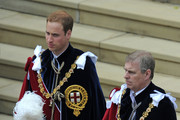 Prince William (L) and Prince Andrew, Dukle of York leave after attending The Order of the Garter Service on June 14, 2010 at St. George's Chapel, Windsor Castle in Windsor, England. The Order of the Garter is the most senior and the oldest British Order of Chivalry and was founded by Edward III in 1348. The patron saint of the Order is St George (patron saint of soldiers and also of England) and the spiritual home of the Order is St George's Chapel, Windsor. Every knight is required to display a banner of his arms in the Chapel, together with a helmet, crest and sword and an enamelled stallplate. These 'achievements' are taken down on the knight's death and the insignia are returned to the Sovereign. The stallplates remain as a memorial and these now form one of the finest collections of heraldry in the world.