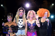 (L-R) Former cast member of 'RuPaul's Drag Race' and host Shangela Laquifa Wadley, season six cast members Adore Delano and Courtney Act and 'RuPaul's Drag Race' season five winner Jinkx Monsoon attend a viewing party for the show's season six finale at the New Tropicana Las Vegas on May 19, 2014 in Las Vegas, Nevada.