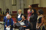 (L-R) Phylicia Rashad, Tyne Daly, Kim Fields, Susan Taylor,  S. Epatha Merkerson, Elizabeth Van Dyke, Lynn Whitfield, and Pauletta Washington attend the Ruby Dee Memorial Service at Assembly Hall of the Riverside Church on September 20, 2014 in New York City.