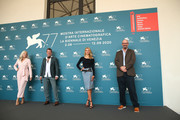 """(L-R) Amanda Presmyk, Thomas Jane, Isabel May and Dallas Sonnier attend the photocall of the movie """"Run Hide Fight"""" at the 77th Venice Film Festival on September 10, 2020 in Venice, Italy."""
