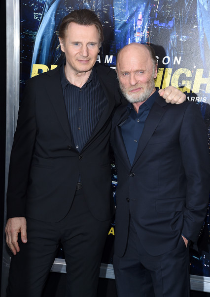 "Actors Liam Neeson (L) and Ed Harris attend the ""Run All Night"" New York Premiere at AMC Lincoln Square Theater on March 9, 2015 in New York City."