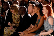 (L-R) Anna Wintour, Edward Enninful, Maya Jama and Karen Elson watch from the front row during the Fashion For Relief catwalk show London 2019 at The British Museum on September 14, 2019 in London, England.