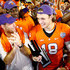 Head coach Dabo Swinney of the Clemson Tigers (L) and Cole Stoudt #18 of the Clemson Tigers celebrate as Stoudt is awarded MVP following the Russell Athletic Bowl at the Florida Citrus Bowl on December 29, 2014 in Orlando, Florida. The Clemson Tigers defeated the Oklahoma Sooners 40-6.