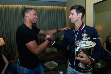 Russell Westbrook 2015 US Open Champion Novak Djokovic New York City Trophy Tour