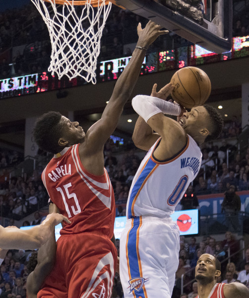 Houston Rockets Vs Okc: Russell Westbrook And Clint Capela Photos Photos