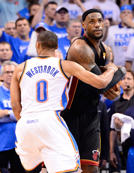 2012 NBA Finals - Game Two Russell Westbrook And Lebron James