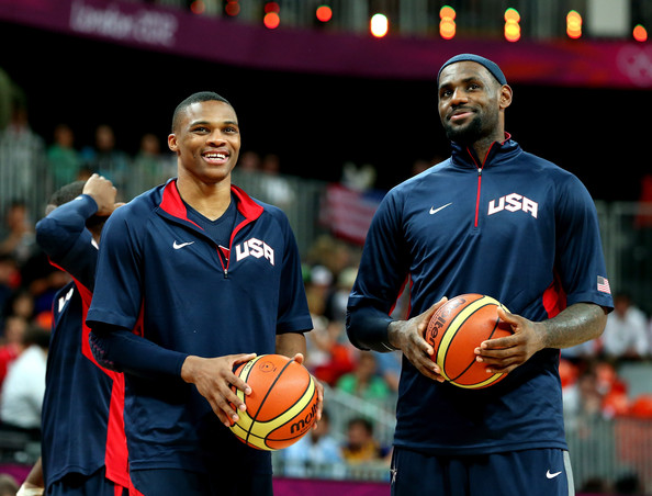 Olympics Day 4 - Basketball Russell Westbrook And Lebron James